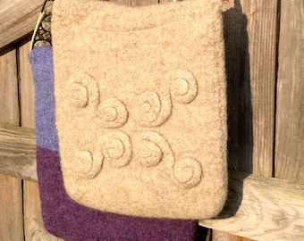 Celtic Knot Felted Wool Messenger Bag in Creamy Oatmeal , OOAK Art Cross Body Purse or Laptop Tote Handmade in the USA