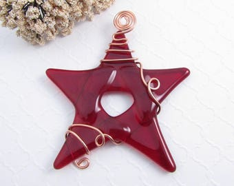 Glass Star Christmas Ornament - Red Fused Glass Star Suncatcher Ornament - Handmade Christmas Tree Ornament - Red Star Ornament