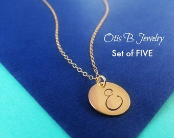 Discounted Bridesmaid gift set, Gold initial necklaces, SET OF FIVE, wedding jewelry, Be my bridesmaid, circle necklace, initial tag