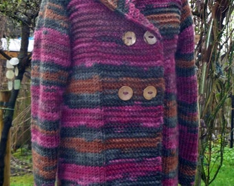 Knitting coat with pointed hood L XL