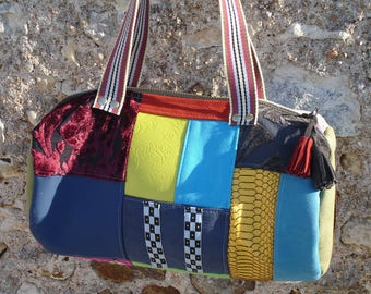 Duffel - patchwork - suede - Microfiber - velvet - faux leather - multicolored