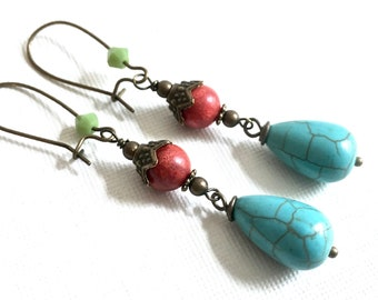 Coral Turquoise Earrings - Southwest Jewelry, Colorful Earrings, Turquoise Jewelry