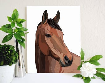 Horse Art Print, Horse Painting, Equestrian Decor, Horse Art, Horse Print, Farm Decor, Farmhouse Decor, Horse Lover Gift, Farm Animal Art