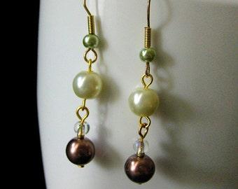 Pearl Earrings: Dangle Earrings in Mauve, Ivory and Sage Green. Bridesmaid Earrings. - The Vineyard. Handmade Earrings.