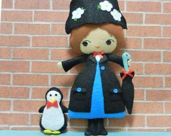 Felt Mary Poppins Nanny Softie Plushie Doll by Noialand