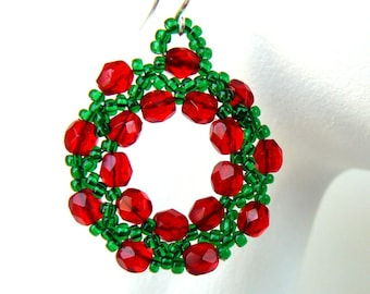 Cyber Monday Sale - Christmas Earrings Red and Green Wreath Earrings Holiday Beadwork Dangles Bead Weaving Christmas Jewelry - Free Shipping
