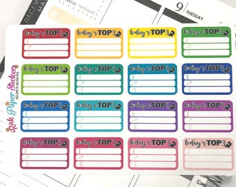 Today's Top 3! set of 16 Multi Colored half box checklists for your planner - Erin Condren, Happy Planner, Inkwell press or other planner!