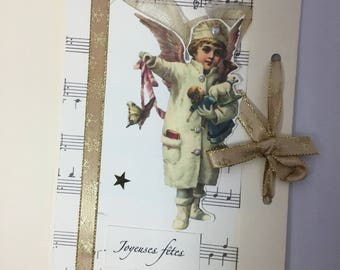 the Angel by 2 vintage Christmas card