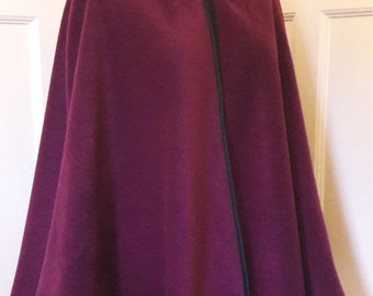 Cape edged with satin binding - rounded hood - your choice of colour - made to order