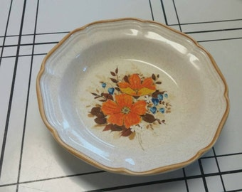 On Sale 1970's Kitchen Mikasa Garden Club 8.5 Cereal/Salad Bowl Serving Dish with Orange Flowers