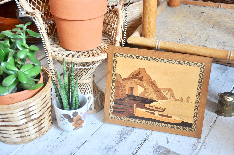 Vintage Holz Intarsien Bildnis Boote Boho Wand Wand Dekor Wand