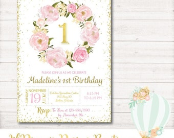 Floral Birthday Invitation, First Birthday, Pink, Gold, Glitter, girl, flowers, watercolor, floral, classic, printable, digital, 1st