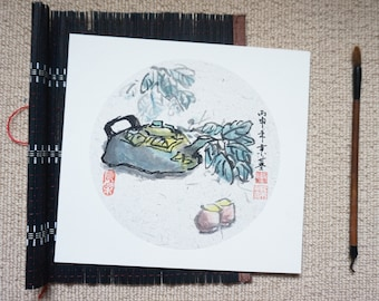 Original Chinese Ink and Wash Painting - Zen Tea Culture, Cha, 茶, 25x27cm, Chinese Painting, Wall Art, Home Decor, Great Gift!