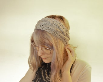 Chunky Cable Knit Acrylic Headband Earmuff | Silver Gray