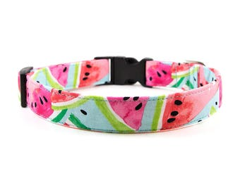 Watermelon Dog Collar // Size S-XL // Adjustable Length // Fabric: Watermelon Slice