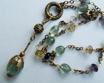 Elegant Brass and Flourite Vintage style necklace, Victorian ,Art deco .rosary style necklace,flapper ,long necklace