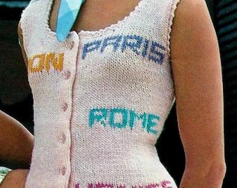 Tank Top Vintage Knitting Pattern Instant Download