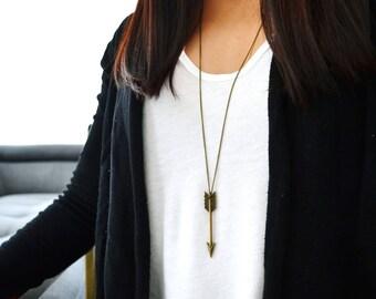 Large Antique Bronze ARROW Necklace- Bohemian Long Simple Necklace - Arrow Long Necklace