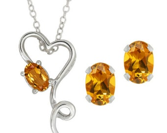 2.5 Ct Yellow Citrine Oval Heart Stud Earrings & Pendant  .925 Sterling Silver Rhodium Finish