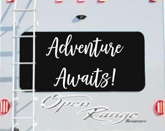 Adventure Awaits Decal for RV Car or Wall  / RV Window Decal / Travel Quote Decal / Travel Quote Wall Decal / Vinyl RV Decal /  rv stickers