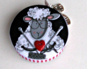 Retractable Sheep Tape Measure for Sewing, Knitting, Crochet, Weaving, Felting, A great gift for All Fiber Artists