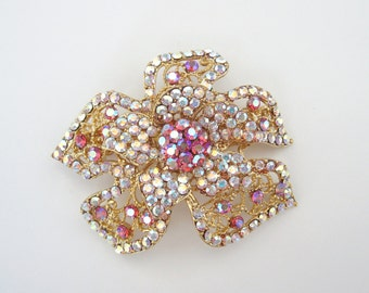 Crystal Flower Hair Accessory Barrette Clip Gold Tone Clear AB Pink AB