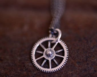 GB Gear-Silver-Gear-Cool-Minimalist-Dainty-No Fuss-Industrial jewelry-Basic chain for man-Steampunk jewelry-Grange-MJ