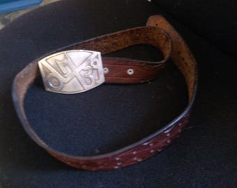 Double Hole Brown Leather Belt with Wide Buckle