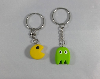 Pac-Man and Ghost Keychain Set