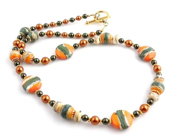 Orange and Green Beaded Lampwork Single Strand Necklace, Lampwork Jewelry, Art Glass Necklace, Glass Bead Necklace, Gifts