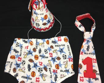 Sports diaper cover, bow tie and birthday hat