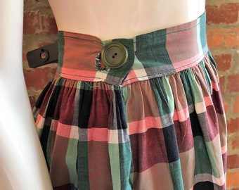 Vintage 40's Novelty Plaid Cotton Skirt- WWII era, Picnic Perfect!