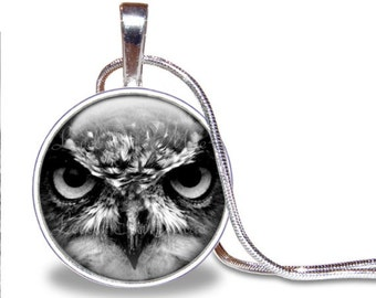Owl Necklace, Owl Pendant, Owl Face, Black and White Necklace, Glass Tile Necklace, Owl Jewelry, Owl Gift, Great Horned Owl, Predator
