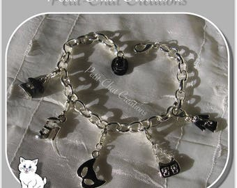 """BRACELET SILVER BLACK 16-21CM SNAP CHARMS BEADS """"INCOGNITO"""" CHARMS"""