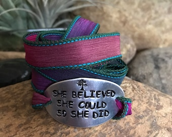She believed she could so she did aluminum silk wrap bracelet, yoga jewelry, words of wisdom, boho chic, recovery