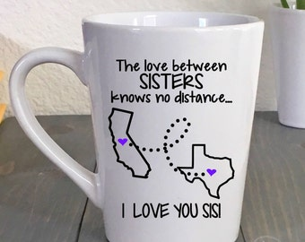 Sister birthday gift etsy long distance mug sisters coffee mug state to state mug best friends gift negle Gallery