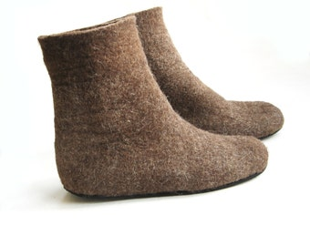 Felted Boots Dark Brown Valenki Winter Boots, Organic Wool Boots for Women, Wool Gifts for Women House Boots Slippers / 6 Color Rubber Soles