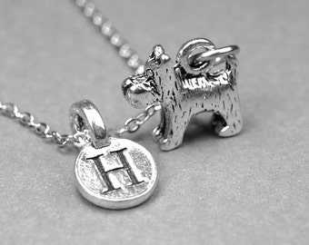 Schnauzer Dog Necklace, terrier dog charm, 3D silver plated pewter, initial necklace, initial hand stamped, personalized, monogram