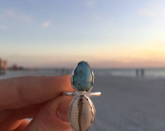 15% OFF! Larimar Seas Cowrie Shell Ring