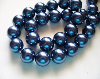 Glass Pearls Navy Blue Round 10MM