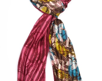 Abstract Print Scarf ⊿ Wedding Scarf ⊿ Extra long scarf ⊿ Flowers print scarf ⊿ Christmas Gift ⊿ Wife Gift ⊿ Birthday Gift ⊿