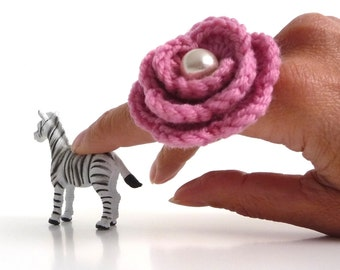 Pink Flower Ring - Crochet Wool Rose, Adjustable, Boho, Statement, Romantic Ring - Bridesmaid, Mothers Day, Anniversary, Valentines Gift