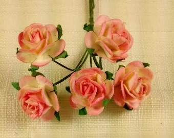 FF-101, Miniature Pink and Yellow Paper Roses