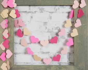 Pink Heart Garland - Pink Paper Garland - Pink Baby Shower Decor - Pink Ombre Garland