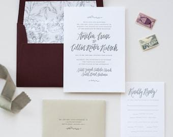 Letterpress Calligraphy Wedding Invitation Suite, Custom Design