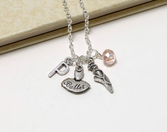 Personalized Ballet Necklace with Your Initial and Birthstone