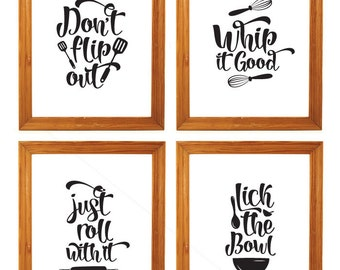 Funny Kitchen Signs, Just roll with it, Whip it Good sign, Kitchen wall decor, typography kitchen quote Print, retro kitchen art decor
