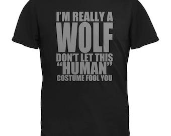 Halloween Human Wolf Costume Black Adult T-Shirt