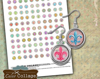 Fluer de Lis - 12mm size Circles Collage Sheet for Earrings Pendants Bracelets Rings Cufflinks Calico Collage - French Collage Sheet