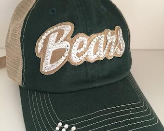 BAYLOR Bling Hat - Distressed Trucker Cap- Bears Football - Swarovski Rhinestones
